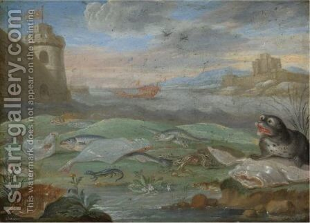 A Coastal Landscape With A Still Life With A Seal And A Lizard Together With A Squid And Various Other Fish by (after) Jan Van Kessel - Reproduction Oil Painting