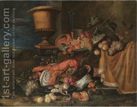 A Still Life With A Lobster Together With Grapes, Melons, Figs Pommegranates And Various Other Fruits by Jan Pauwel II the Younger Gillemans - Reproduction Oil Painting