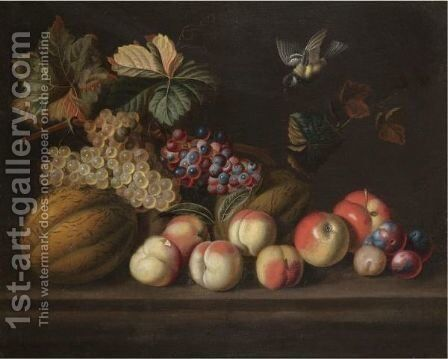 A Still Life With A Melons, Grapes, Peaches, Apples And A Bluetit by (after) Jakob Bogdany - Reproduction Oil Painting