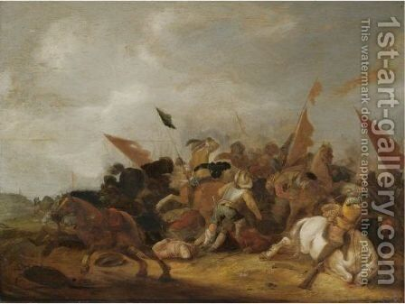 A Battle Scene In A Dune Landscape by (after) Anthonie Palamedesz. (Stevaerts, Stevens) - Reproduction Oil Painting