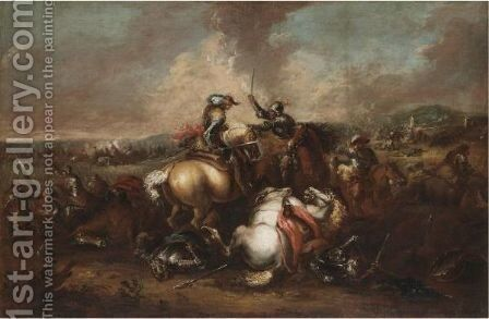 A Cavalry Battle Scene by (after) Francesco Simonini - Reproduction Oil Painting