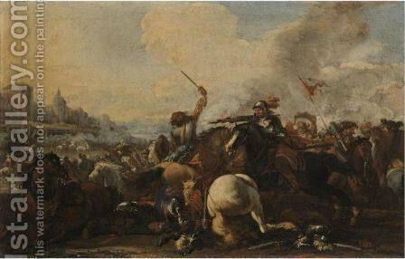 A Cavalry Battle Before A Fortified Town by (after) Jacques (Le Bourguignon) Courtois - Reproduction Oil Painting