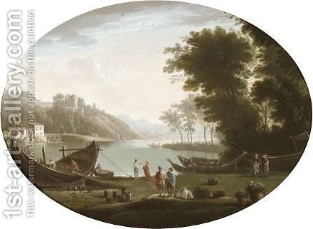 A River Landscape With Figures Loading A Barge In The Foreground by Italian School - Reproduction Oil Painting