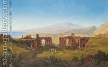 Sicily, A View Of The Greek Theatre At Taormina, With Mount Etna Beyond by Italian School - Reproduction Oil Painting