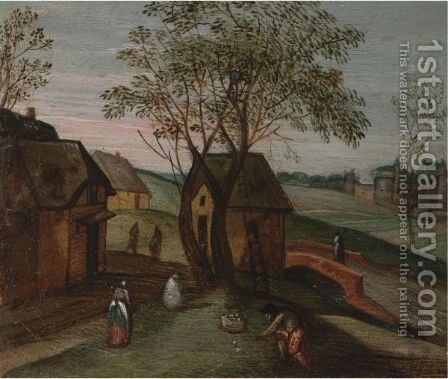 A Spring Landscape With A Figure Sowing A Field by (after) Abel Grimmer - Reproduction Oil Painting