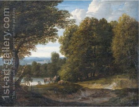 A Wooded River Landscape With Cattle And Two Figures by Jaques D'Arthois - Reproduction Oil Painting