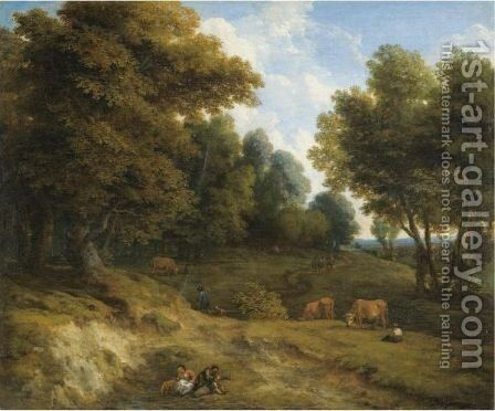A Wooded Landscape With Cows, And Figures In The Foreground by Cornelis Huysmans - Reproduction Oil Painting