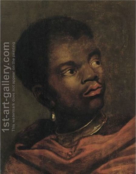 Portrait Of A Black Page, Head And Shoulders, Wearing A Red Cloak by (after) Dyck, Sir Anthony van - Reproduction Oil Painting