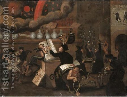 A Protestant Satirical Scene With Catholics And Devils Colluding by Dutch School - Reproduction Oil Painting