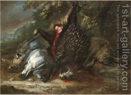 A Still Life With Dead Game And A Porcupine Hanging From A Branch by Baldassare de Caro - Reproduction Oil Painting