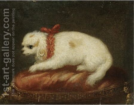 A Portrait Of A Spaniel Sitting On A Cushion by Milanese School - Reproduction Oil Painting