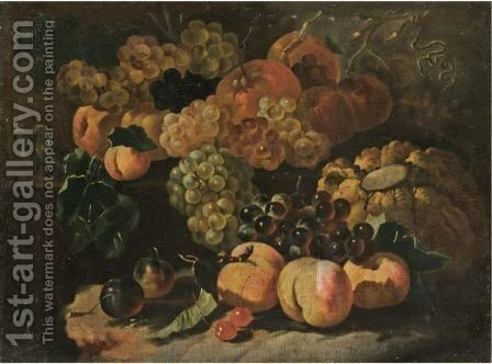A Still Life With Grapes, Plums, Peaches, Apricots, Cherries, A Melon And Various Other Fruit by (after) Giovanni Paolo Castelli, Called Spadino - Reproduction Oil Painting