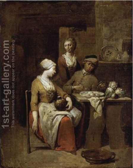 A Tavern Interior  With A Gentleman Holding A Pipe And A Maid Holding A Gourd, A Serving Girl Beyond by Jan Baptist Lambrechts - Reproduction Oil Painting