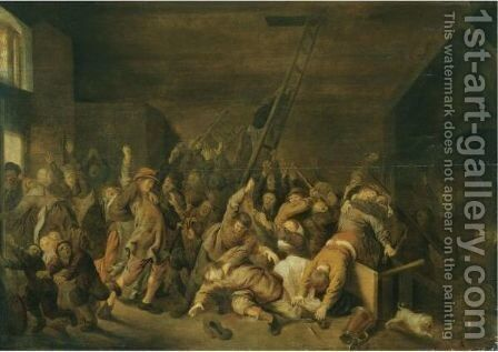 A Tavern Interior With Figures Brawling by Jan Miense Molenaer - Reproduction Oil Painting
