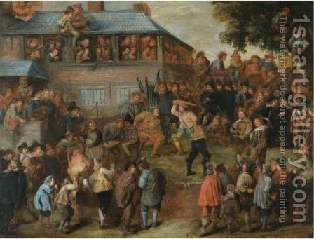 A Crowded Duelling Scene Before A House by Dutch School - Reproduction Oil Painting
