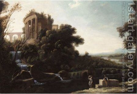 A River Landscape With Figures Resting Beneath A Capriccio View Of The Temple Of Vesta At Tivoli by (after) Pierre-Antoine Patel - Reproduction Oil Painting