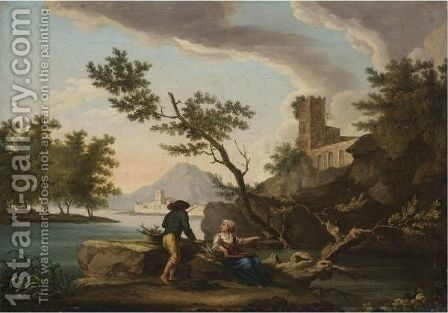 A Mediterranean Coastal Scene With A Fisherman by (after)  Claude-Joseph Vernet - Reproduction Oil Painting
