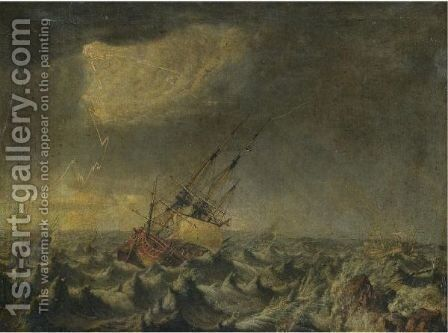 Ships In A Storm Floundering On Rocks by Johan Tietrich Schoultz - Reproduction Oil Painting