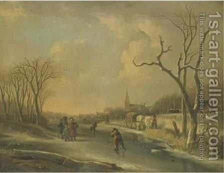 A Winter Landscape With Skaters On A Frozen River, Together With A Family Of Faggot Gatherers by Andries Vermeulen - Reproduction Oil Painting