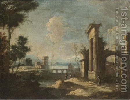 An Italianate River Landscape With Pastoral Figures Amongst Classical Ruins by (after) Antonio Stom - Reproduction Oil Painting