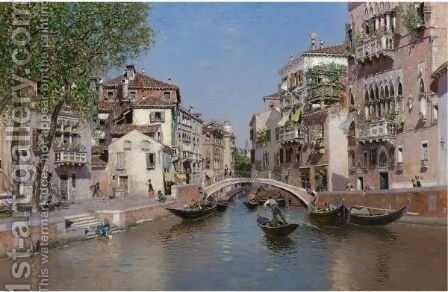 Rio San Trovaso, Venice by Martin Rico y Ortega - Reproduction Oil Painting