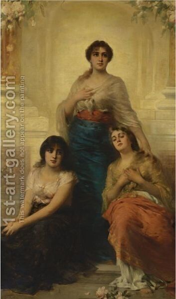 Three Beauties by Nathaniel Sichel - Reproduction Oil Painting