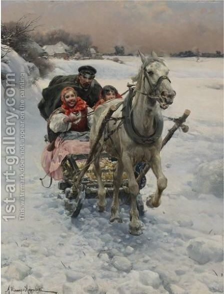 Merry Ride by Alfred Wierusz-Kowalski - Reproduction Oil Painting