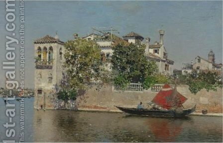 A View Of A Venetian Garden by Martin Rico y Ortega - Reproduction Oil Painting