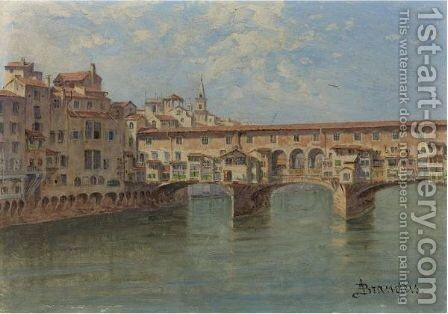The Ponte Vecchio, Florence by Antonietta Brandeis - Reproduction Oil Painting