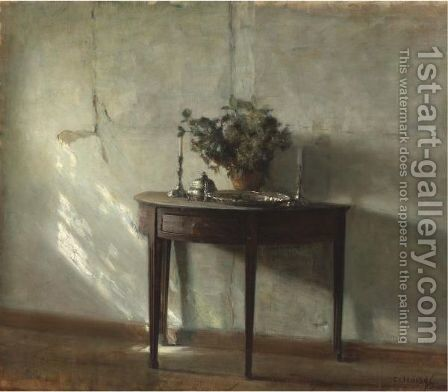 A Sunlit Interior by Carl Vilhelm Holsoe - Reproduction Oil Painting