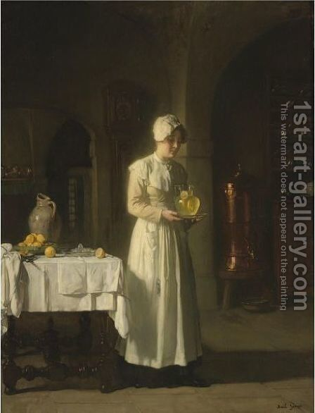 Maid With Lemonade by Claude Joseph Bail - Reproduction Oil Painting