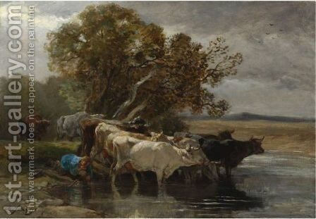 Drover Watering Cattle Near A Pond by Charles Émile Jacque - Reproduction Oil Painting