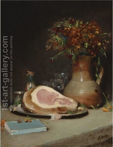 Still Life With Flowers And Ham by Antoine Vollon - Reproduction Oil Painting