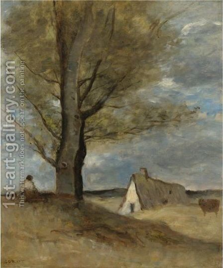 Study Of A Landscape With Figure by Jean-Baptiste-Camille Corot - Reproduction Oil Painting