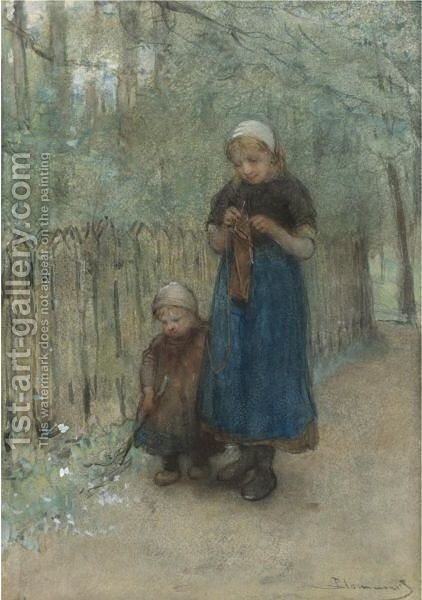 Sisters On A Country Path by Bernardus Johannes Blommers - Reproduction Oil Painting