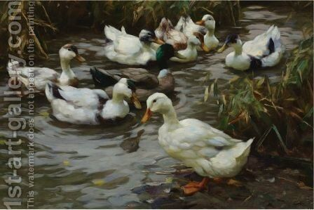 The Duck Pond by Alexander Max Koester - Reproduction Oil Painting