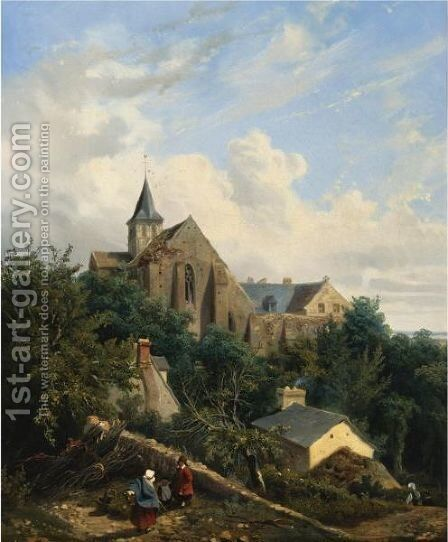 View Of The Graville Priory by Gustave Leprince - Reproduction Oil Painting