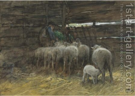 The Sheep Fold by Anton Mauve - Reproduction Oil Painting