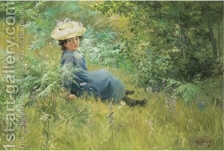 Resting In A Field by Charles-Frederic Henriet - Reproduction Oil Painting