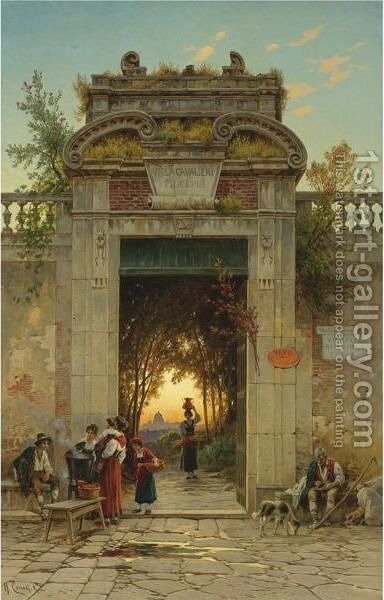 On The Via Flaminia Near The Villa Cavalieri by Hermann David Solomon Corrodi - Reproduction Oil Painting