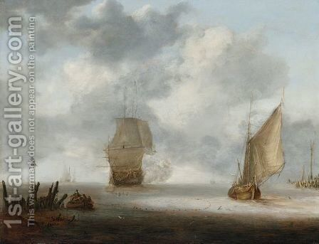 A Calm Sea With A Man Of War And A Fishing Boat by Jan Porcellis - Reproduction Oil Painting