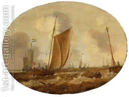 Ships And Frigates In Choppy Waters, With A Light Beacon At The End Of A Pier by Dutch School - Reproduction Oil Painting