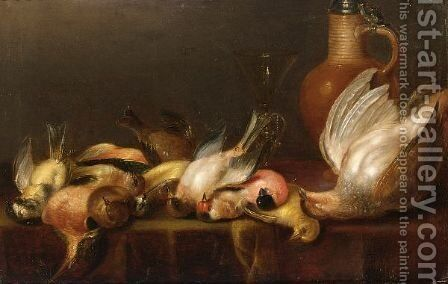 A Partridge And Various Song Birds With A Facon-De-Venise Glass And Stoneware Jug With Tin Cover by (after) Alexander Adriaenssen - Reproduction Oil Painting