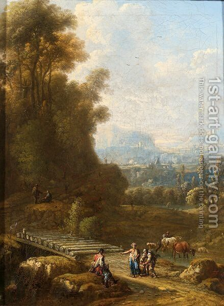 An Italianate Landscape With Herdsmen And Cattle Near A Bridge To The Foreground by (after) Johann Alexander Thiele - Reproduction Oil Painting