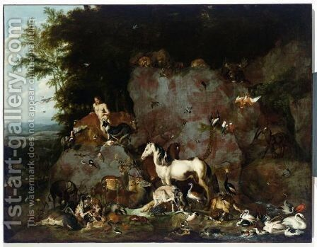 Adam Naming All Animals (Gen. 219-21) by Carl Borromaus Andreas Ruthart - Reproduction Oil Painting