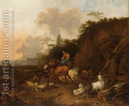 A Italianate Landscape With A Shepherdess And Her Cattle by Jan Frans Soolmaker - Reproduction Oil Painting