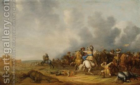 A Cavalry Skirmish With A Siege Of A Town Beyond by Abraham van der Hoef - Reproduction Oil Painting