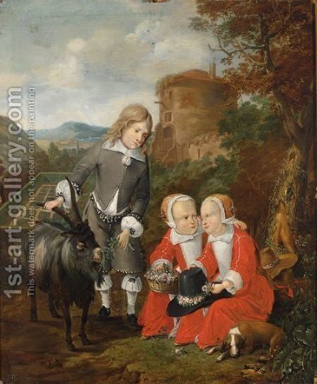 A Boy With A Goat And Twins In A Forest Landscape With A View Of A Formal Garden Beyond, Said To Be The Children Of Graf Hochberg by Johann Heinrich Roos - Reproduction Oil Painting