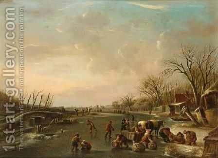 A Winter Scene With Skaters And A Horse-Drawn Sleigh With Poultry Sellers by Andries Vermeulen - Reproduction Oil Painting