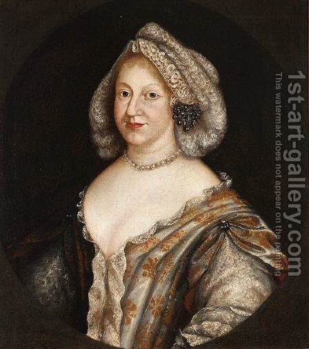 A Portrait Of A Lady Of Title, Said To Be Wilemine Ernestine Of Danmark, Electress Of The Palatine (1650-1706) by (after) Johann Friedrich Rahnen - Reproduction Oil Painting